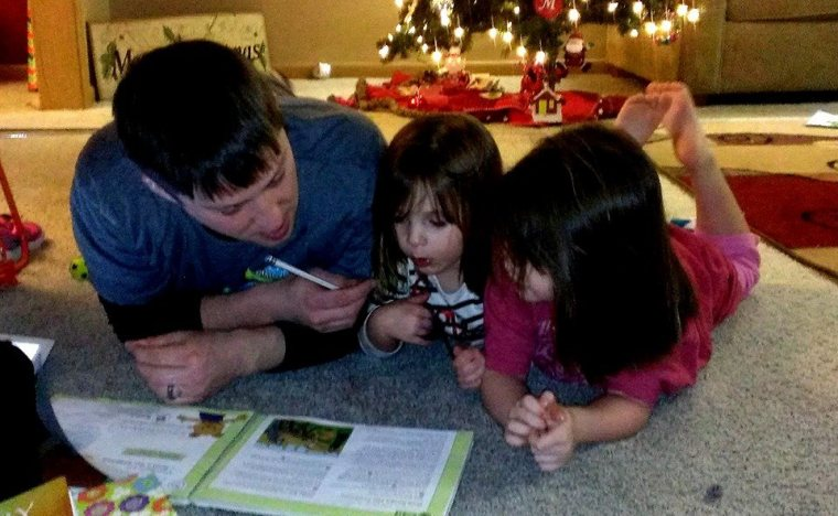 Ben doin' work with the girls and their AWANA